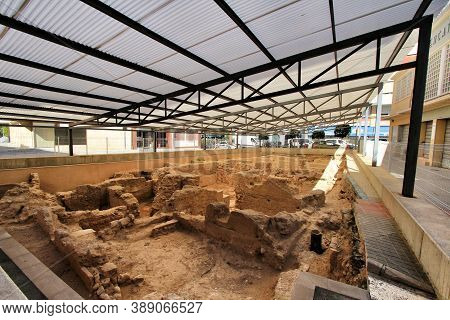 Elche, Alicante, Spain- October 7, 2020: Archeological Remains Found In The Fruita Square Next To Th