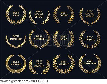 Golden Laurel Or Palm Wreath. Realistic Cinema Awards, Leaf Shapes Winner Prize. Isolated Gold Branc