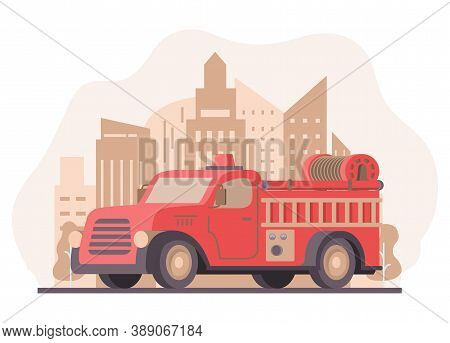 Fire Engine Pickup.emergency Service Red Vehicle.red Fire Truck With Ladder.