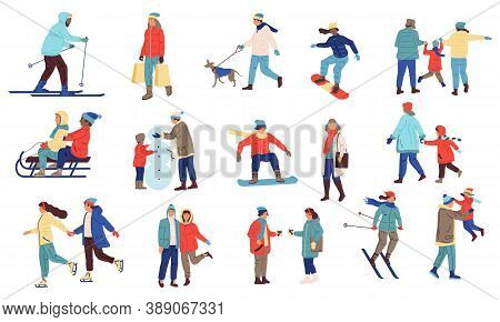 Winter Activity People. Cartoon Crowd Of Characters Playing Snowballs, Snowboarding, Skiing. Family