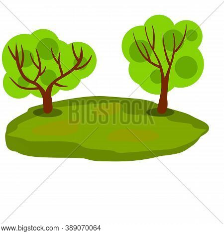 Landscape With Grass And Tree. Element Of Nature And Forests. Background For Illustration. Lawn, Swa