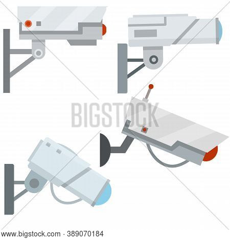 Video Surveillance Camera. Cartoon Flat Illustration. Fixation In The Wall. White Cctv Device With L