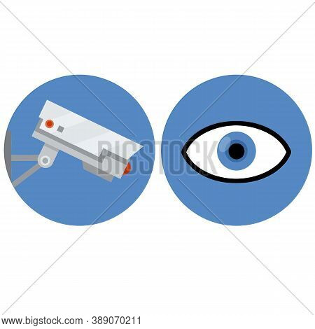 Video Surveillance Camera. Security Footage Set. White Cctv Device With Red Lens. Cartoon Flat Illus