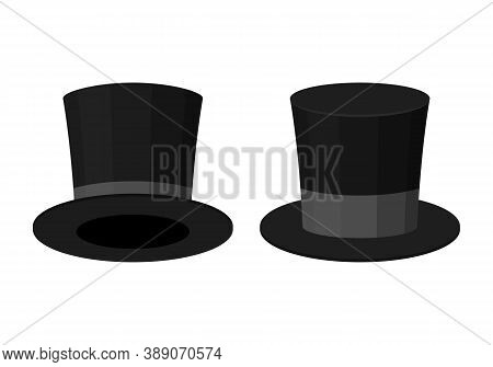 Black Top Hat Isolated On White Background. Cylinder Gentleman Hat, Broad-brimmed Magic Hat With Gre