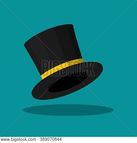Black Top Hat Isolated On Blue Background. Cylinder Gentleman Hat, Broad-brimmed Magic Hat With Yell