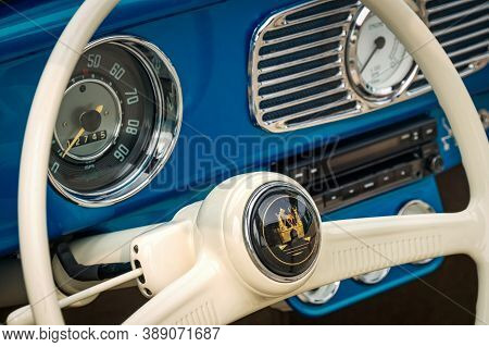 Toronto, Canada - 08 18 2018: Interior With Steering Wheel With Logo, Speedometer, Revs Dial On Fron