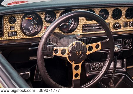 Toronto, Canada - 08 18 2018: Steering Wheel With Logo, Dials And Knobs On The Golden Front Panel Of
