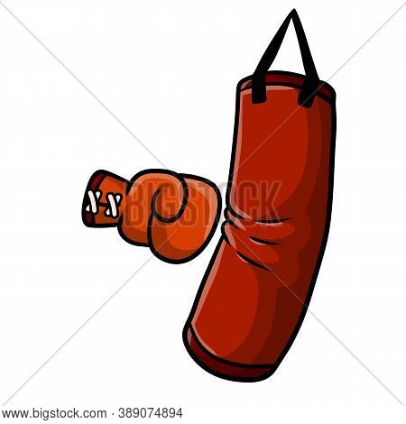 Red Boxing Glove. Punch The Punching Bag. Sports Inventory