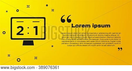 Black Sport Mechanical Scoreboard And Result Display Icon Isolated On Yellow Background. Vector
