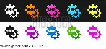 Set Smm Icon Isolated On Black And White Background. Social Media Marketing, Analysis, Advertising S