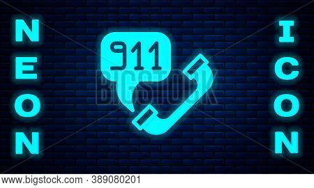 Glowing Neon Telephone With Emergency Call 911 Icon Isolated On Brick Wall Background. Police, Ambul