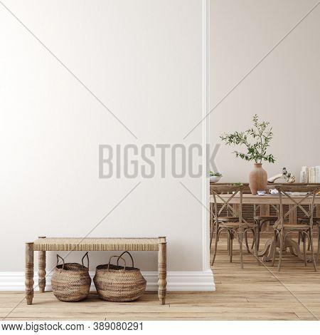 Scandinavian Farmhouse Living Room Interior, Wall Mockup, 3d Illustration