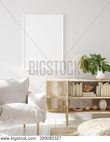 Mock Up Frame In Home Interior Background, Scandinavian Style, 3d Illustration
