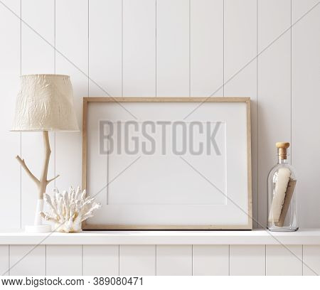 Mockup Poster Frame Close Up In Coastal Style Home Interior, 3d Illustration