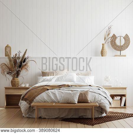 White Cozy Coastal Bedroom Interior, 3d Illustration
