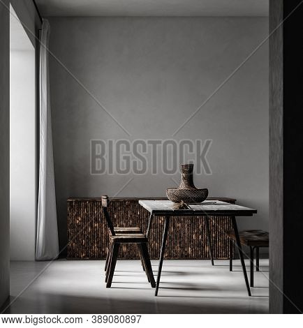 Simple Minimal Nomadic Style Interior, 3d Illustration