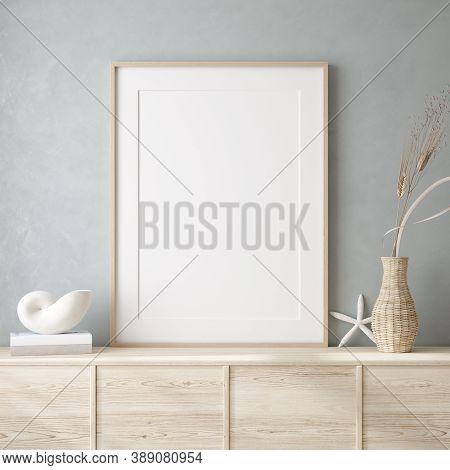 Mockup Frame Close Up In Coastal Style Home Interior Background, 3d Illustration