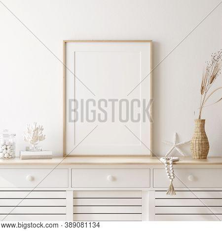 Mockup Frame In Cozy Coastal Style Home Interior, 3d Illustration