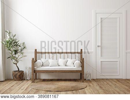Scandinavian Farmhouse Hallway Interior, Wall Mockup, 3d Illustration