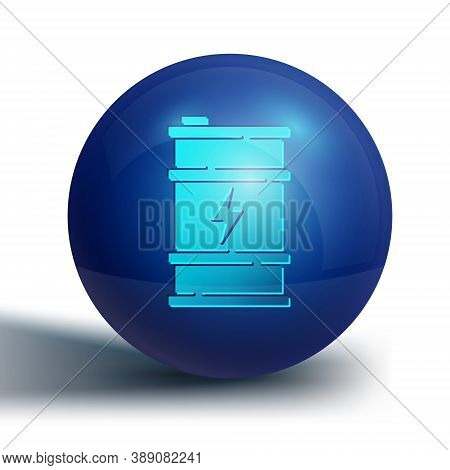 Blue Bio Fuel Barrel Icon Isolated On White Background. Eco Bio And Canister. Green Environment And