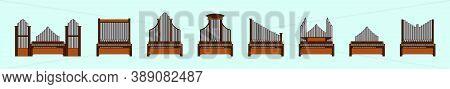 Set Of Vintage Pipe Organ Modern Cartoon Icon Design Template With Various Models. Vector Illustrati