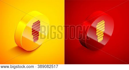 Isometric Led Light Bulb Icon Isolated On Orange And Red Background. Economical Led Illuminated Ligh