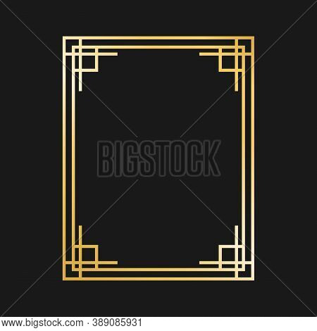 Art Deco Gold Frames And Borders. Gatsby Design Elements. Vintage Linear Border. Retro Style. Isolat