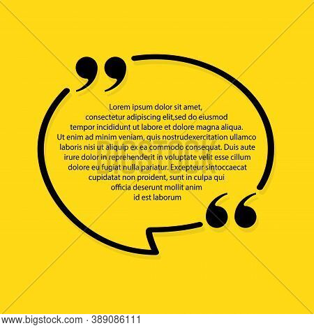 Empty Speech Quote Text Bubble. Pattern Text Framework Of Quote And Comment. Quote Blank Template Li