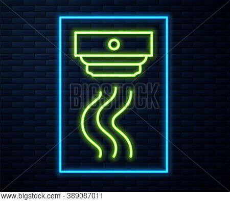 Glowing Neon Line Smoke Alarm System Icon Isolated On Brick Wall Background. Smoke Detector. Vector