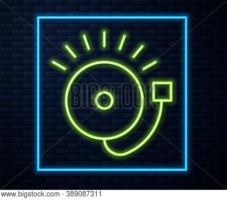 Glowing Neon Line Ringing Alarm Bell Icon Isolated On Brick Wall Background. Fire Alarm System. Serv