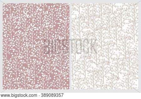 Pastel Color Floral Seamless Vector Pattern. Abstract Freehand Tree Twigs Print. Dusty Pink  Drawn T