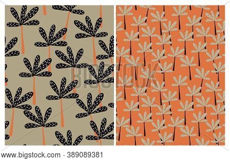 Funny Tropical Seamless Vector Pattern. Abstract Palm Trees Print. Black Hand Drawn Palms Isolated O