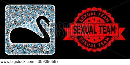 Bright Mesh Polygonal Swan With Light Spots, And Sexual Team Unclean Ribbon Stamp. Red Stamp Seal Co