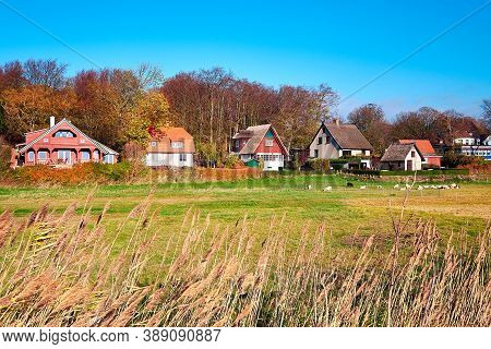 Kloster Village On Hiddensee Island In North Germany. Traditional Houses On A Sunny Day In Autumn.