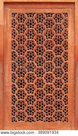 Stone Grate - Detail Of Gate Area In Taj Mahal Complex In Agra, Uttar Pradesh, India