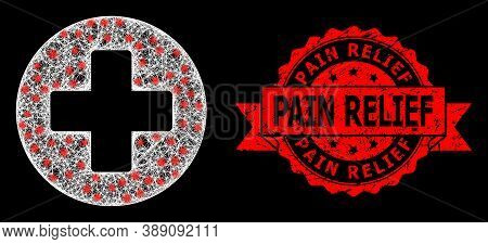 Glare Mesh Polygonal Medical Cross With Light Spots, And Pain Relief Textured Ribbon Seal. Red Stamp