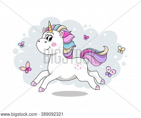 Cute Cartoon Unicorn Running And Frolicking With Colorful Butterflies. Flat Cartoon Vector Illustrat
