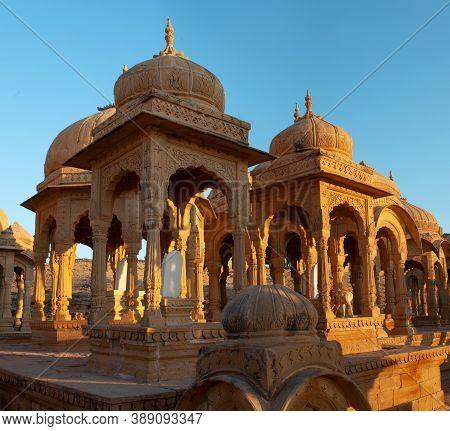 Ancient Bada Bagh Cenotaphs In Jaisalmer, Rajasthan State, India.