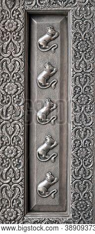 Detail Of Silver Door At Karni Mata Temple In Deshnoke Near Bikaner, Rajasthan State Of India. It Is