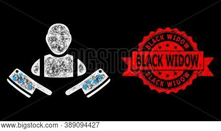 Glare Mesh Polygonal Butcher Man With Lightspots, And Black Widow Grunge Ribbon Stamp Seal. Red Seal