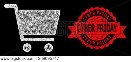 Bright Mesh Network Shopping Cart With Light Spots, And Cyber Friday Corroded Ribbon Seal. Red Stamp