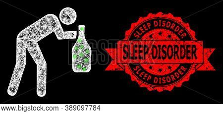 Glowing Mesh Net Drunky Man With Glowing Spots, And Sleep Disorder Scratched Ribbon Stamp Seal. Red
