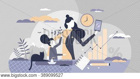 Work Life Balance For Female As Children Or Career Choice Tiny Person Concept. Mother With Kids And