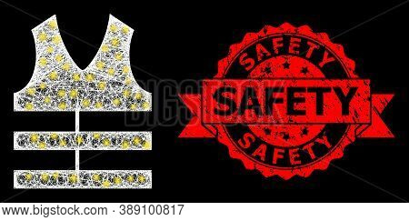 Glare Mesh Net Safety Vest With Glowing Spots, And Safety Corroded Ribbon Stamp Seal. Red Stamp Seal