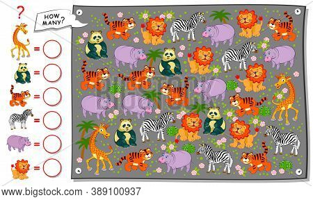 Math Education For Children. Count Quantity Of Animals In Zoo And Write Numbers. Developing Counting