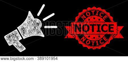 Bright Mesh Polygonal Advertising Megaphone With Glowing Spots, And Notice Dirty Ribbon Watermark. R