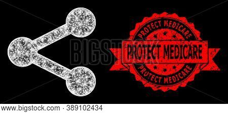 Shiny Mesh Polygonal Share With Glowing Spots, And Protect Medicare Grunge Ribbon Stamp Seal. Red St