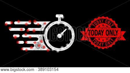 Shiny Mesh Polygonal Time Tracker With Glowing Spots, And Today Only Unclean Ribbon Stamp Seal. Red