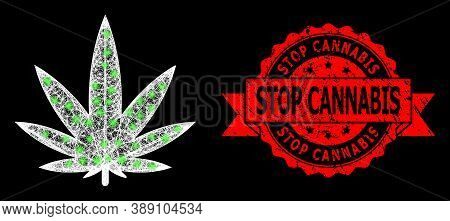 Glowing Mesh Polygonal Cannabis With Glowing Spots, And Stop Cannabis Corroded Ribbon Seal Imitation