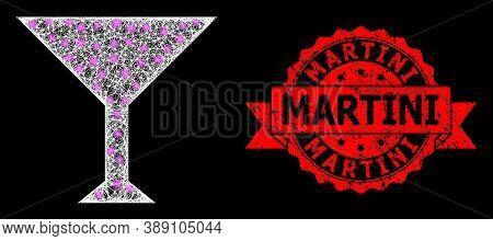 Bright Mesh Polygonal Martini Cup With Light Spots, And Martini Textured Ribbon Stamp Seal. Red Stam